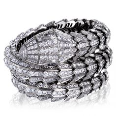 Shop for Bvlgari Serpenti White Gold Full Diamond Pave Large Bangle Bracelet. Get free delivery On EVERYTHING* Overstock - Your Online Jewelry Destination! Bulgari Jewelry, Diamond Jewelry, Bvlgari Serpenti, Bangle Bracelets, Bangles, Thing 1, Diamond Eyes, Name Jewelry, Pear Shaped Diamond