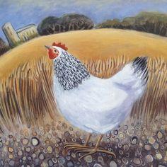 'Hen By The Church' By Painter Hannah Giffard. Blank Art Cards By Green Pebble. www.greenpebble.co.uk