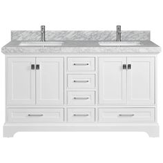"""The Melbourne 60"""" classic vanity instantly gives your bathroom a modern update. The mission style design showcases a solid wood frame, detailed cabinet and door trim, and gleaming white under mount sinks. #bathroom #bathroomdesign #bathroomdecor #bathroomremodel #bathroomrenovation #bathtubs #kitchen #kitchendesign #kitchendecor #kitchenremodel #kitchenrenovation #vanities #mirrors #shower #interior #interiordesign #interiordecor #homeimprovement #remodel #renovation Classic Cabinets, Grey Backsplash, Door Trims, Led Mirror, Showcase Design, Marble Countertops, Wood Paneling, Kitchen And Bath, Double Vanity"""