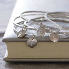 personalised silver initial bangle by lily belle | notonthehighstreet.com