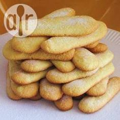 These sponge fingers are also known as lady fingers. They can be eaten as is with a cup of tea or coffee or used in other recipes, such as tiramisu. Italian Cookies, Italian Desserts, Italian Biscuits, Italian Recipes, Gluten Free Desserts, Just Desserts, Savoiardi Recipe, Other Recipes, Sweet Recipes