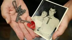 Mrs Carol Ward was Barry's girst girlfriend when he was 15 and she was 13...Carol holding a photo & the engraved heart chain he gave her 'Carol&Barry'
