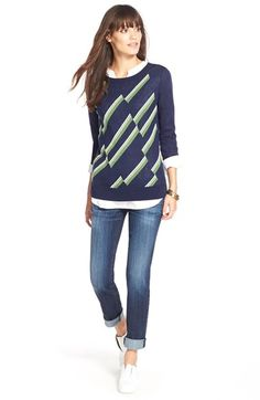 Halogen® Sweater & KUT from the Kloth Boyfriend Jeans available at #Nordstrom
