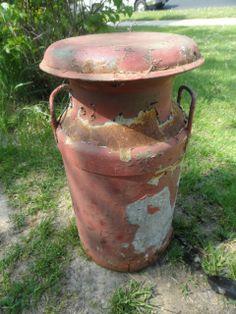 "UNIQUE VINTAGE RUSTIC METAL ""DM COOP"" DAIRY MILK CAN Old Milk Cans, Rusty Metal, Iron Decor, Unique Vintage, Landscaping, Planter Pots, Dairy, Rustic, Canning"