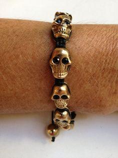 Friendship Bracelet With Gold Skull $18.00