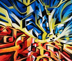 """Clayton Kashuba   Catalyst  Canvas and Acrylic Paint 42"""" by 32"""" The artist applies line by using line to create a 3d look to his painting. I chose this piece because I liked how the artist uses the line to create a 3d look and how the lines all connect"""