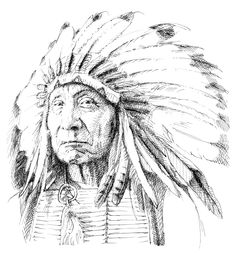 American indian. Traditional drawing technique