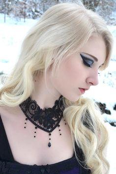 Jet Black Nocturne Black Lace Choker by Dark Elegance Designs
