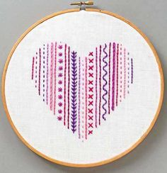 A rainbow of embroidery inspiration! These colorful stitching projects are just the thing to brighten gray days. Sashiko Embroidery, Embroidery Sampler, Simple Embroidery, Learn Embroidery, Japanese Embroidery, Embroidery For Beginners, Embroidery Hoop Art, Embroidery Stitches, Hand Embroidery Patterns Flowers