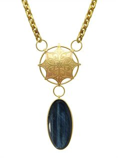 Vestige Necklace | etched brass and blue tigereye | Drew Curtright | drewcurtrightdesigns.com