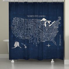 This unique take on the traditional map uses white letters on a distressed blue background to form the United States. All of our products are digitally printed to create crisp, vibrant colors and imag