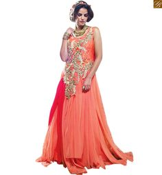 INDIAN EVENING GOWNS FOR STYLISH AND STUNNING LOOK FOR WOMEN PINK AND  ORANGE NET BRASSO HEAVY c426dc9a1