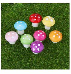 Resin Mushroom Model Figure for Indoor Home Garden Decoration DIY Accessory