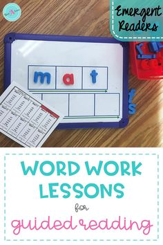 Teaching word work during guided reading is easier with this toolkit and lesson plans. The activities are design by level and provide a list of the materials needed for each lesson. If you are wondering how to teach word work in kindergarten and 1st grade, these emergent word work lessons are the perfect resource for you!