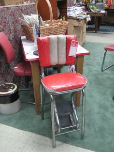 Spotted in Hawley Pennsylvania, grandma's vintage stool!    Visit: http://cdiannezweig.blogspot.com/search?q=vintage+kitchen
