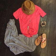 San Diego Hats. Z supply pocket v necks. Bella Dahl comfy maxi. Julio horn necklace. Sandals from Sanuk and Bourbon and Boweties arm candy