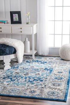 Rugs USA Aqua Bosphorus Floral Medallion Rug: Bring home the traditional look of a beautiful aqua floral medallion rug