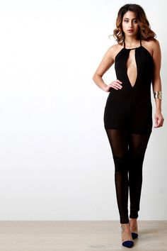 ead053383826 Description This chic jumpsuit features a jersey knit fabrication with  constrasting mesh-paneled bottom