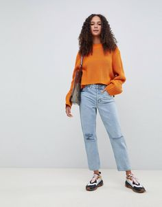 Order ASOS DESIGN Recycled Florence authentic straight leg jeans in light stonewash blue with rips online today at ASOS for fast delivery, multiple payment options and hassle-free returns (Ts&Cs apply). Get the latest trends with ASOS. Asos, Mode Online, Stretch Denim, Nice Tops, Fashion Online, Fitness Models, Maternity, Cotton, Blue