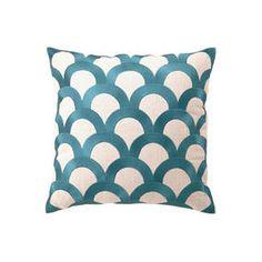 Scales 16x16 Linen Pillow, Teal