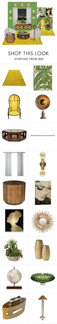 """1970s living room"" by feralkind ❤ liked on Polyvore featuring interior, interiors, interior design, home, home decor, interior decorating, Versace, Laura Ashley, iCanvas and Oliver Gal Artist Co."