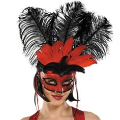 Can-Can Feather Mardi Gras Mask - Party City