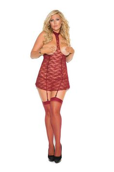 038e7d55aa Sexy Elegant Moments Burgundy Red Cupless Open Bust Chemise Mini Dress with  Garter Straps Valentine s Lingerie