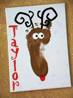 Footprint Reindeer DIY Kids holiday project for craft night on advent Calender do w/ both girls on canvas and hang up each year Preschool Christmas, Christmas Activities, Christmas Crafts For Kids, Baby Crafts, Christmas Art, Christmas Projects, Preschool Crafts, Holiday Crafts, Holiday Fun