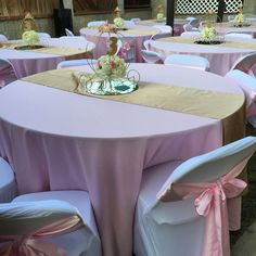 Princess carriage Centerpieces , carriage Centerpieces , pink satin chair ties , white chair covers , Princess party , Cinderella party , pink and gold party