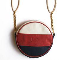 Runde Leder Geldbörse / Tasche weiß rot blau JUD von JUDtlv auf Etsy, $199.00