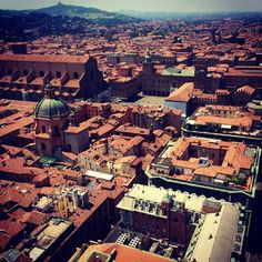 The view from the Asinelli tower of Bologna - willrunforfoodtv
