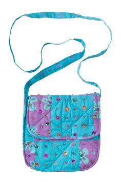 Girls Patchwork Purse with Strap Purple