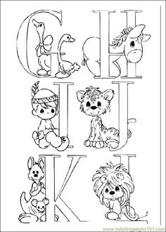 kids coloring page precious moments alphabet part 1 coloring sheet
