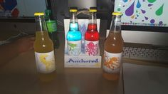 Soda pop concept.  Berry-cuda,jelly-fizz,ginger-eel, and oct-orange. Anchored