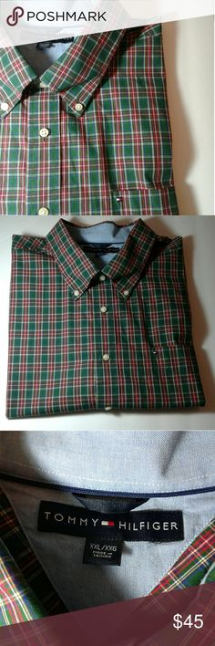 *TOMMY HILFIGER* MENS Classic Button Down Shirt Classic, Vintage Plaid button down,  short sleeve shirt / Vintage,  tag indicates 2006 and Lot number / Gently used,  in like new condition / Size is XXL,  But best fits a big and Tall man... Tommy Hilfiger Shirts Tees - Short Sleeve