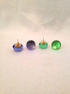 Resin Earrings  Blue Earrings  Green Earrings  Stud by Barysto