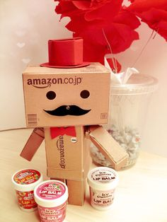Danbo as ice-cream man (ignore the lipbalm text on the ice-cream lol) bokeh by: [link] Ice-Cream Man Robot Cute, Box Robot, Danbo, Miss Piggy, Amazon Box, Ice Cream Man, Sonny Angel, Cute Box, Carton Box