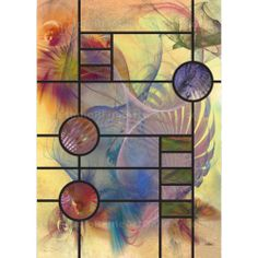 """Desert Blossoms - By John Robert Beck  This abstract art was created in 2010. The art was inspired by Frank Lloyd Wright's window designs from his """"Prairie School"""" homes. $3.00"""