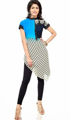 Blue, navy blue and off white georgette kurti makes you look quite stylish and graceful. Kurti is garnished with stylish hem cut, one side silk thread embroidered motifs and digital print. #ClassicalTunic