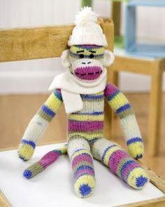 Knit Sock Monkey - Learn how to knit an adorable free sock monkey pattern.