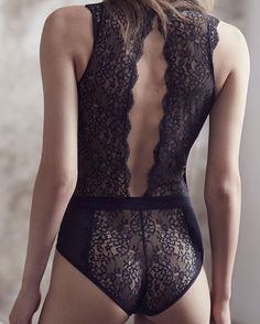 http://dingox.com New in! Lingerie AW / 15. Crossed Front Lace Bodysuit REF…