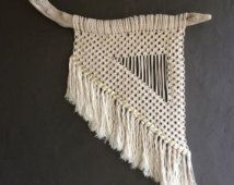 "Macrame Wall Hanging ""El Toro"" Driftwood + Natural Cotton + Gold Studs"
