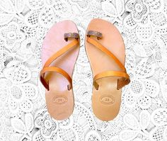 NEW Diamond toe ring leather sandals women by TheSquareMoon