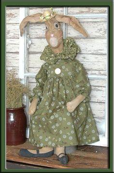 "Primitive Folk Art Spring Bunny Rabbit Doll ""E"" E-mail Pattern - pinned by pin4etsy.com"