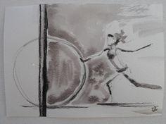 """Aquarelle """" D comme danse """" - série alphabet - format carte postale : Peintures par les-envies-damelie"""