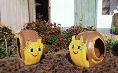 recycled tires into flower beds | Gartenideen mit alten Autoreifen- Blumentöpfe und Hocker selber ...