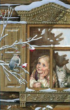 Illustration by Lyudmila Romanova, a contemporary Russian artist. Art And Illustration, Christmas Illustration, Vintage Christmas Cards, Christmas Images, Christmas Art, Vintage Cards, Christmas Scenes, Christmas 2019, Decoupage