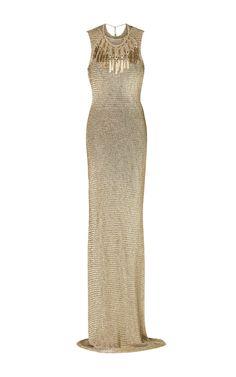 Open-Back Knit Gown by Ralph Lauren