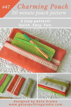 Use this easy zipper pouch pattern and sew a charming pouch in less than 20 minutes!