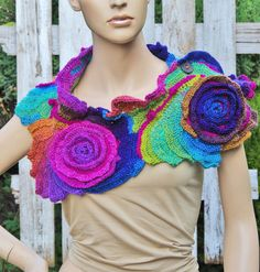 Crochet Scarf  Roses  Unique Capelet Neck Warmer Freeform crochet Blue Green Purple Red rainbow Womens scarf, Freeform Crochet scarf/gift